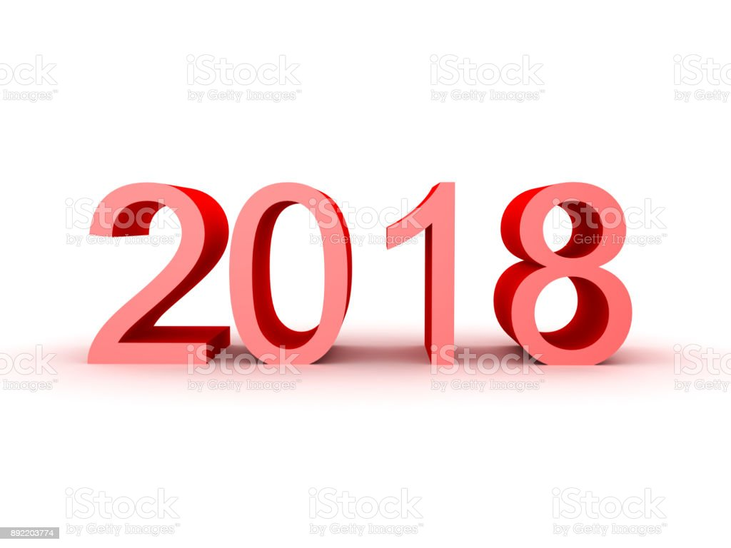 3D illustration of the number 2018 stock photo