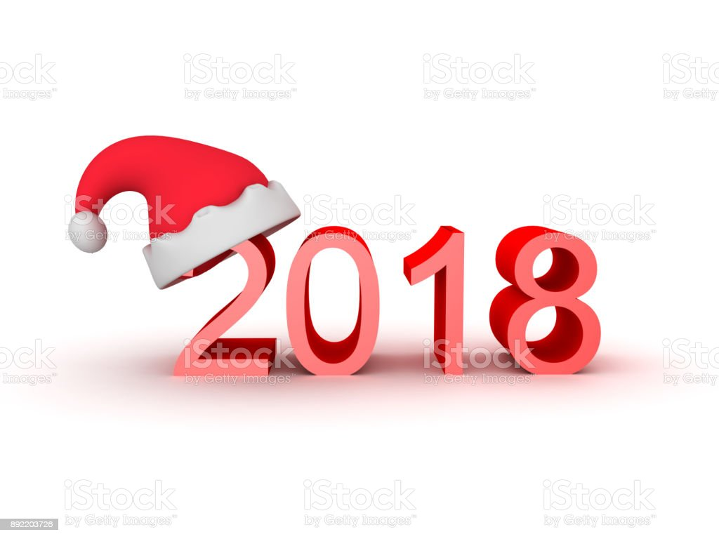 3D illustration of the number 2018 with Santa Claus hat on top stock photo