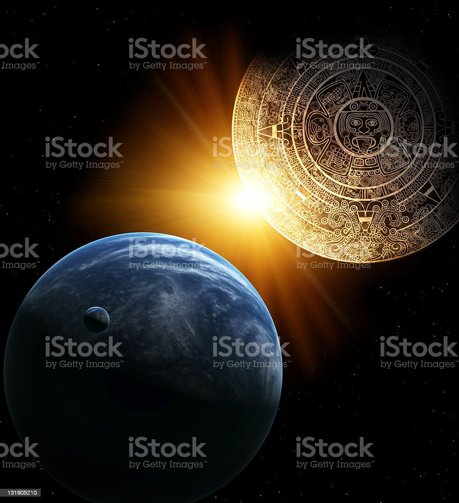 Illustration of the planet Earth and the Mayan Calendar stock photo