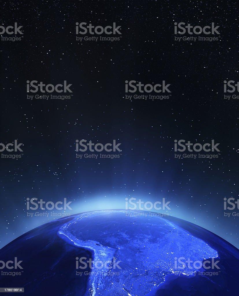 América del Sur por la noche - foto de stock