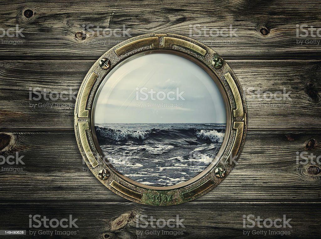 Illustration of the window in the interior of a boat stock photo