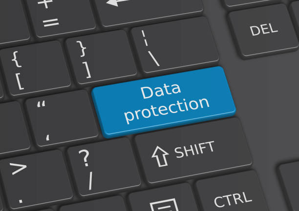 A 3D illustration of the words Data protection written on the keyboard stock photo