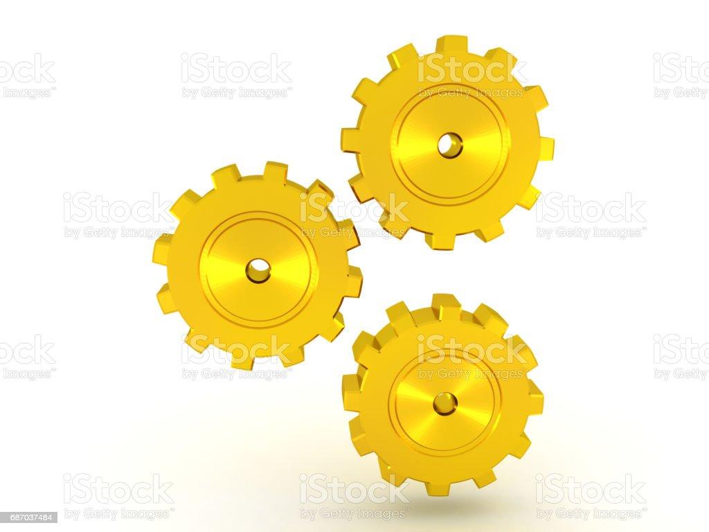 illustration of three golden metallic cogs turning Lizenzfreies stock-foto
