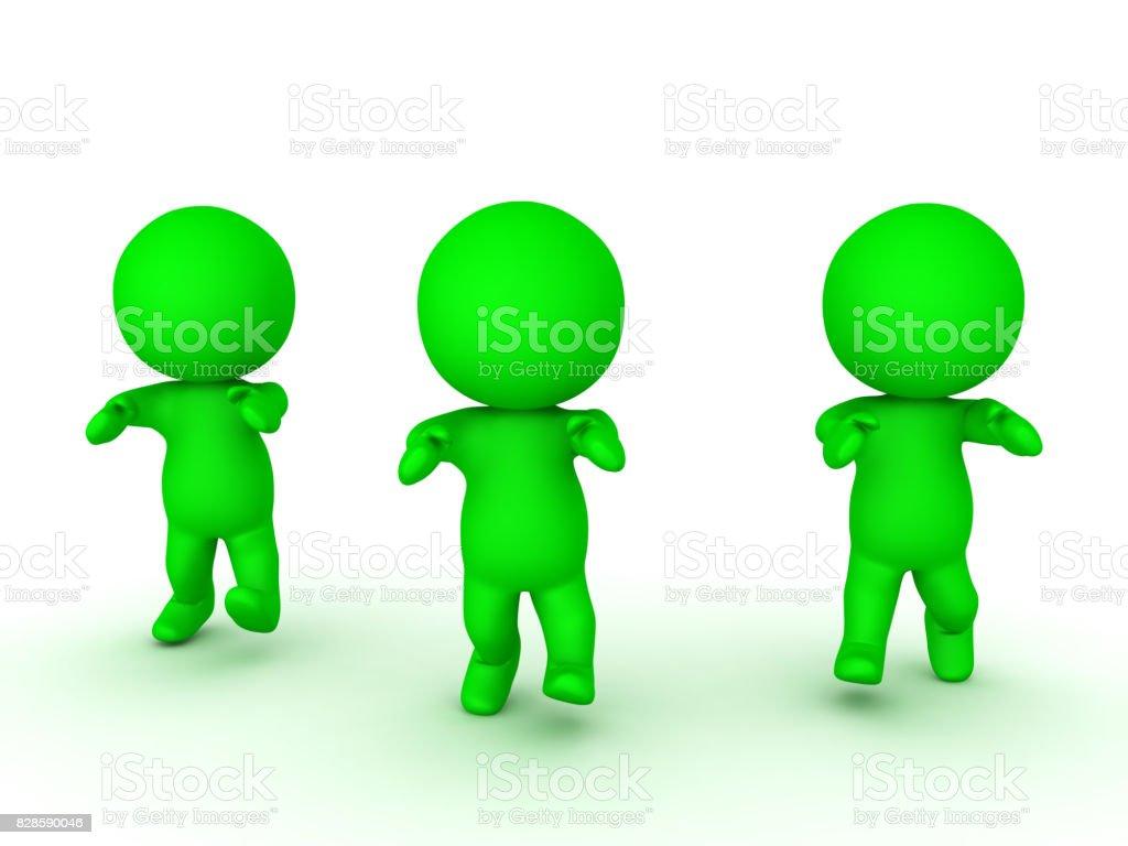 3D illustration of three green zombies walking forward stock photo