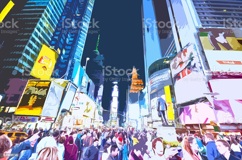Illustration of Times Square stock photo