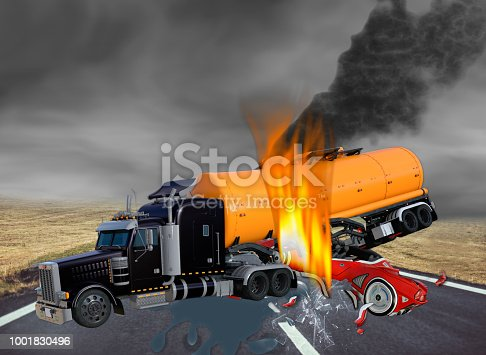 3D Illustration of Tractor Trailer Truck and Exotic Car in Accident on Dark Cloudy Day.