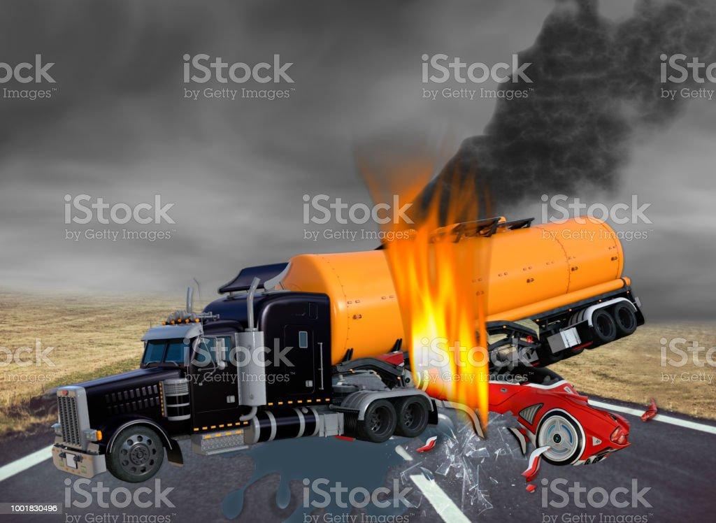 3D ilustración de camión de remolque de Tractor y coches exóticos en accidente - foto de stock