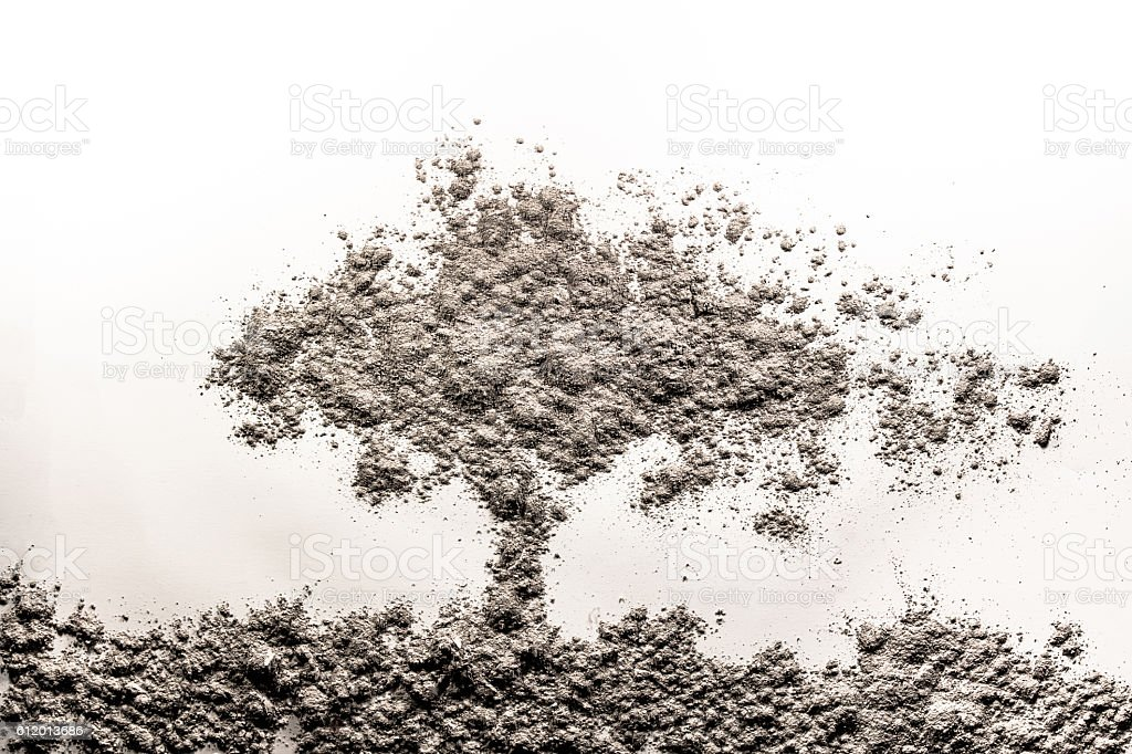 Illustration of tree in wind made of ash, dust stock photo