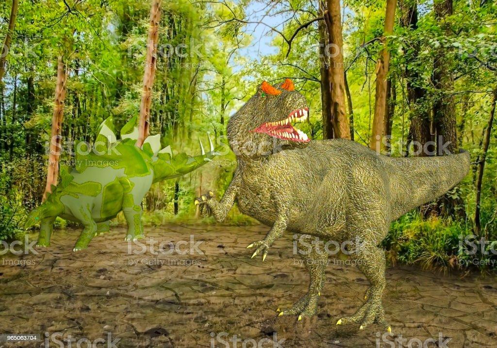 3D Illustration of Two Dinosaurs in a Swamp zbiór zdjęć royalty-free