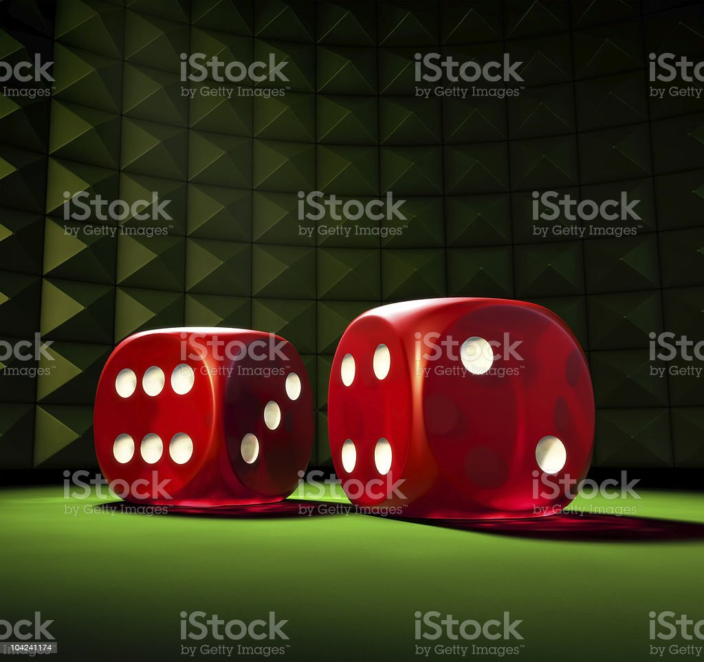 Illustration of two gambling dice on green board royalty-free stock photo