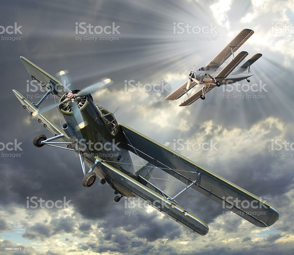 Illustration of two vintage aircrafts royalty-free stock photo
