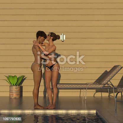 istock Illustration of two women embracing as the sun goes down in the late afternoon 1097792830