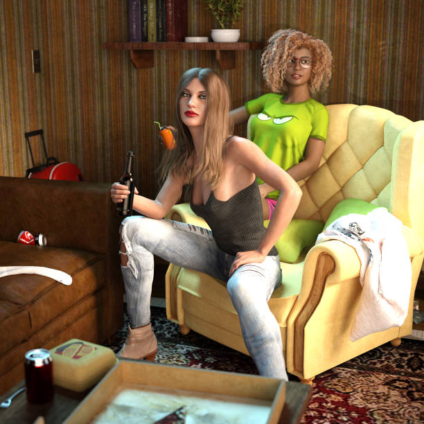 3D Illustration of Two Young Women Sitting