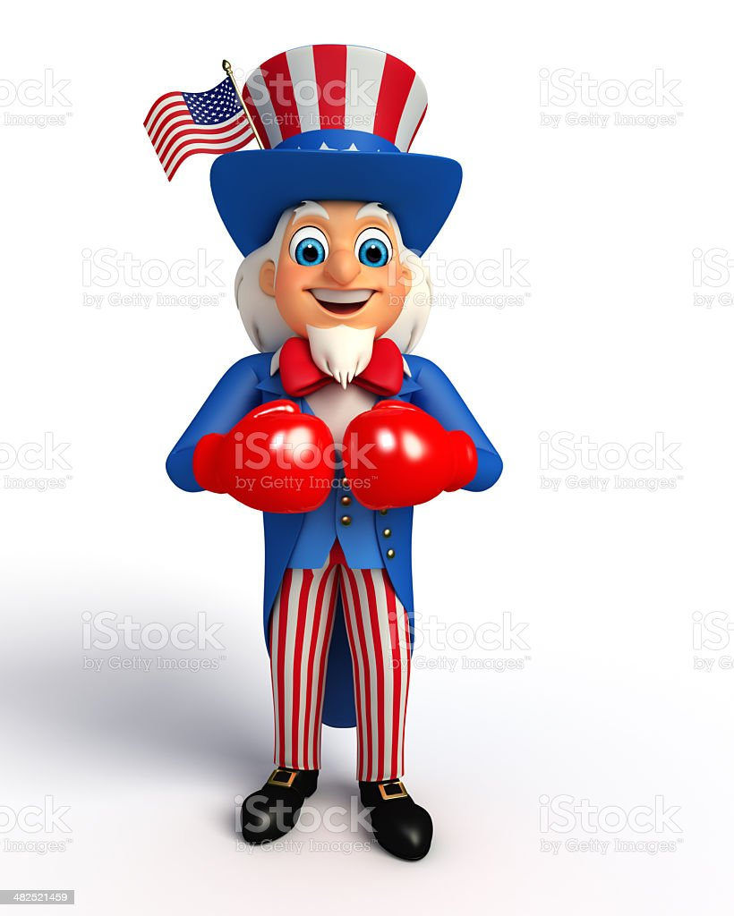 Illustration of Uncle Sam with boxing gloves stock photo
