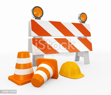 istock 3D illustration of under construction concept. 545814546