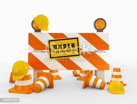 istock 3D illustration of under construction concept. 545815302