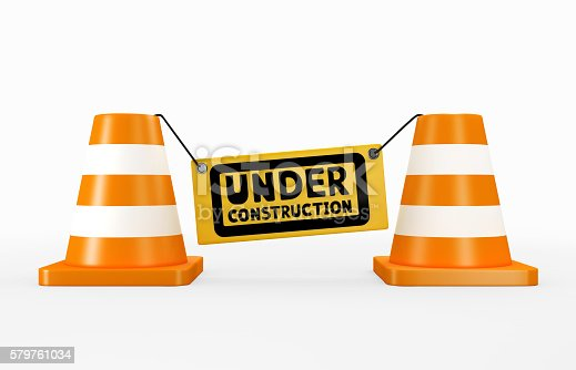 istock 3D illustration of under construction concept. 579761034
