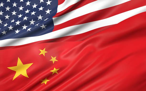米国と中国の国旗の 3 d イラストレーション - 共産主義 ストックフォトと画像