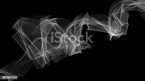 3D illustration of veil on the wind looks like smoke