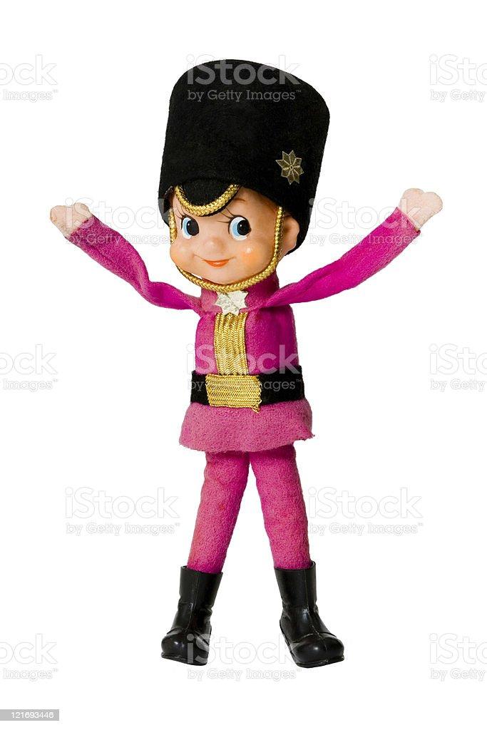 Christmas Drummer Boy.Illustration Of Vintage Christmas Little Drummer Boy In Pink
