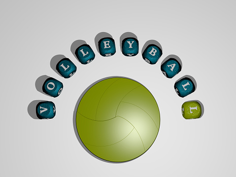 3D representation of VOLLEYBALL with icon on the wall and text arranged by metallic cubic letters on a mirror floor for concept meaning and slideshow presentation