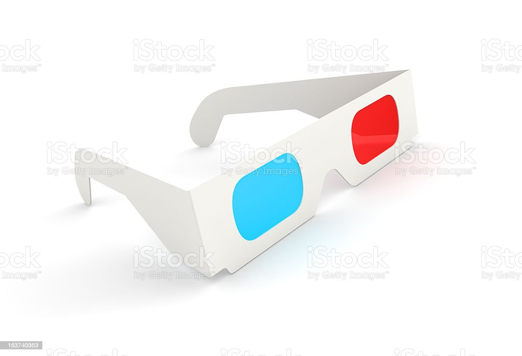 Illustration of white 3D Glasses stock photo