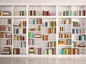 istock illustration of White bookshelves 512966920