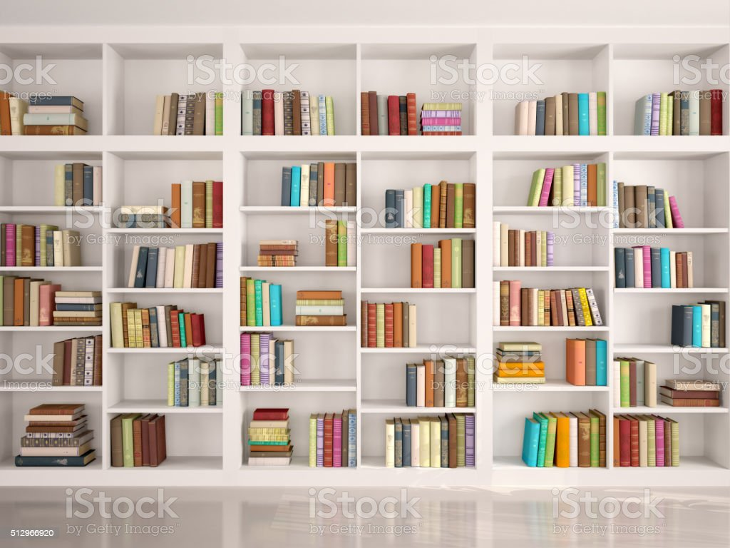 Incroyable Illustration Of White Bookshelves Stock Photo