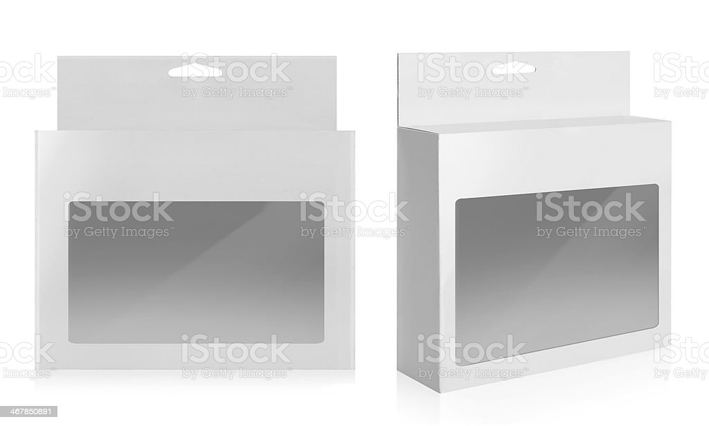 Illustration of white product package box with window stock photo