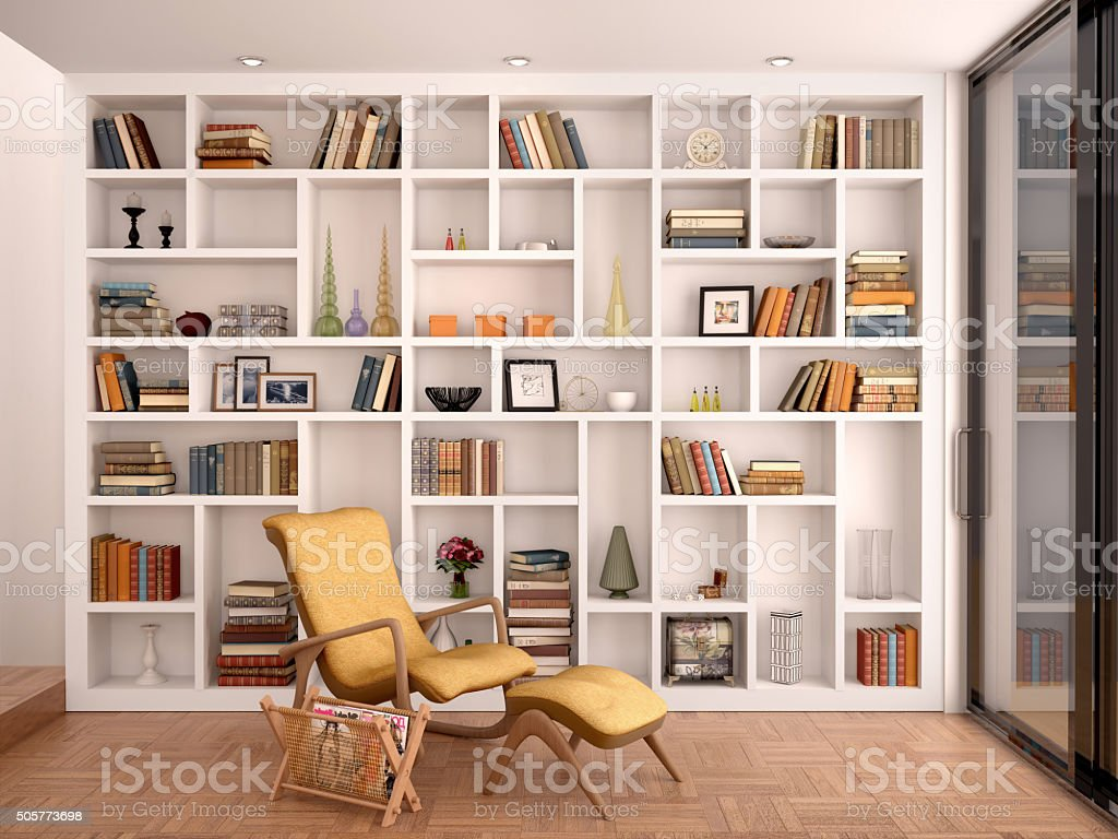 illustration of white shelves for decoration stock photo
