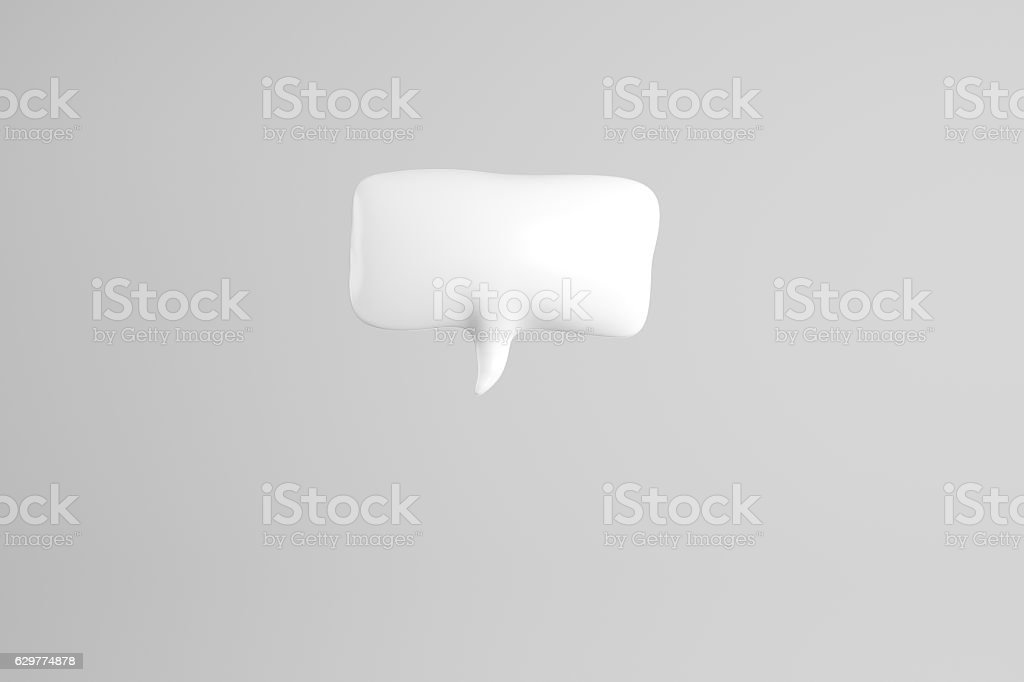 3D illustration of white speech bubble stock photo