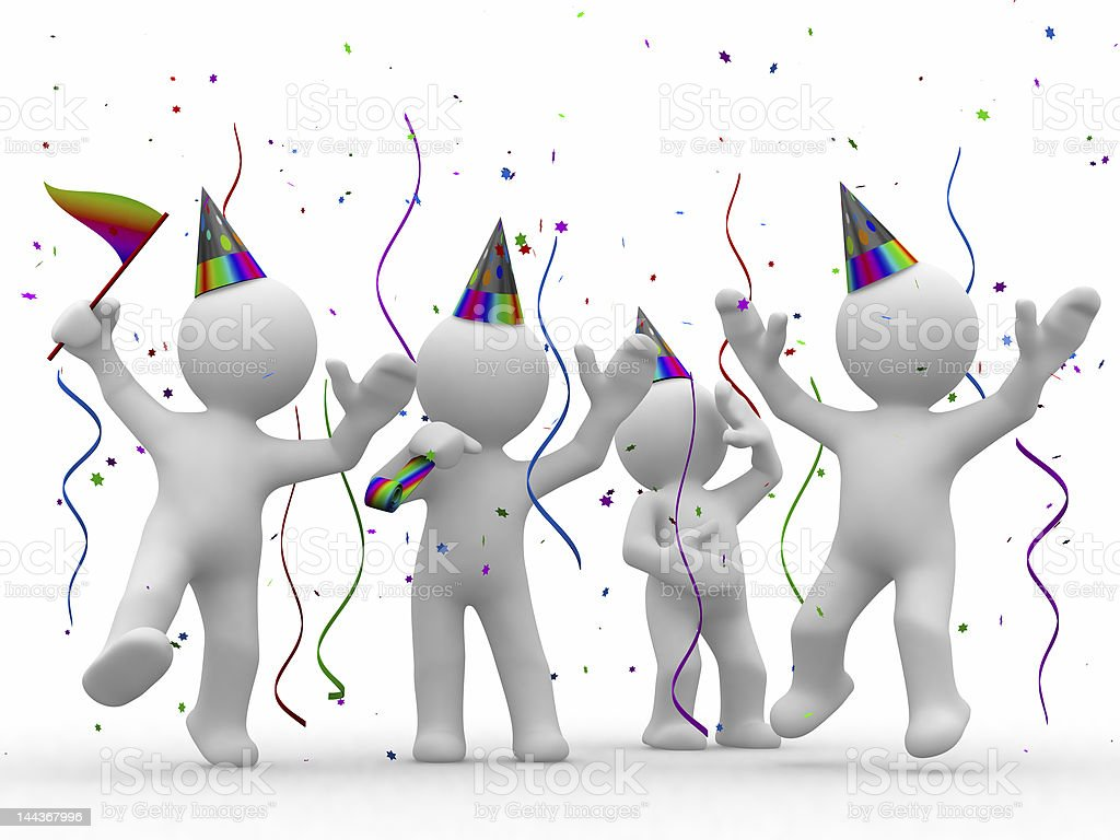 3D illustration of white stick figures partying with hats royalty-free stock photo