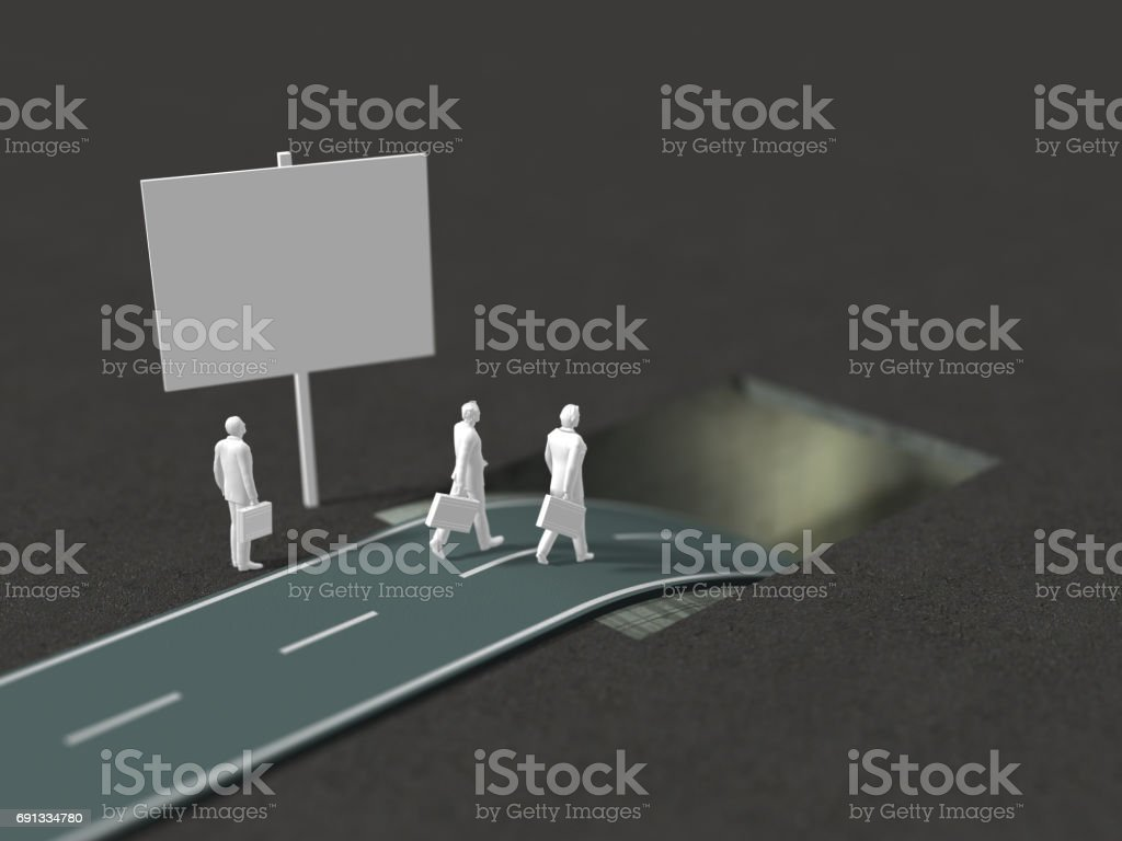 3D illustration of winding road stock photo