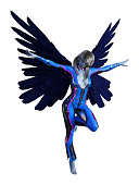 Illustration of winged human shaped extraterrestrial with upright wings standing with arms outstretched and her head down on a white background