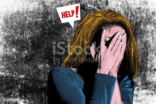 istock Illustration of woman with head in her hands 514855314