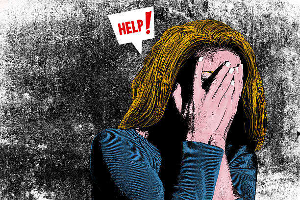 illustration of woman with head in her hands - human trafficking stock photos and pictures