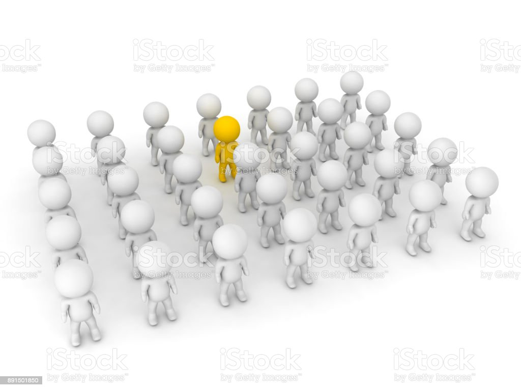 3D illustration of yellow character standing out of the crowd stock photo