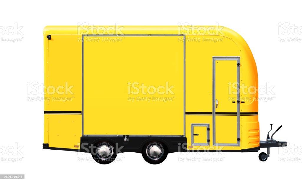 3D illustration of yellow food truck stock photo