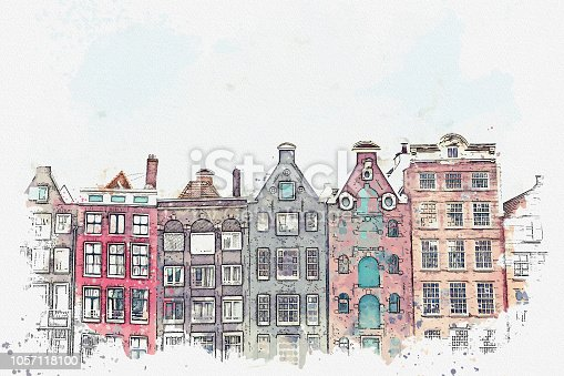 illustration or watercolor sketch. Traditional old architecture in Amsterdam. European architecture