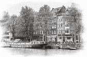 istock Illustration or watercolor sketch. Traditional old architecture in Amsterdam 1147695843