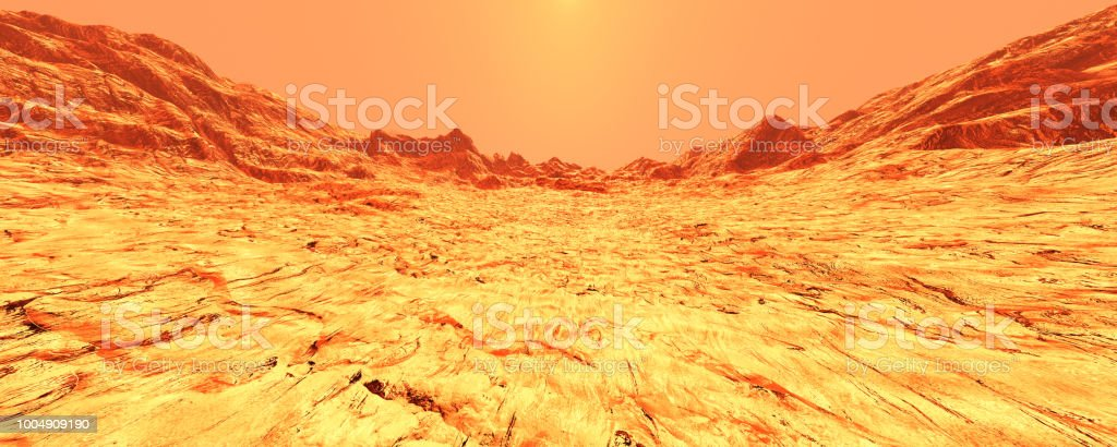 3d Illustration Planet Mars Landscape Stock Photo & More