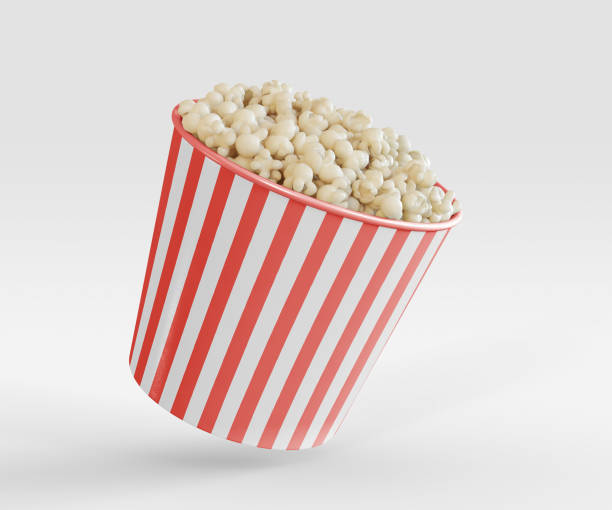 3D Illustration. Popcorn in red white striped bucket. stock photo
