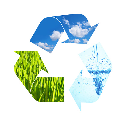 Illustration recycling symbol of nature elements, green grass, blue sky and water isolated on white background