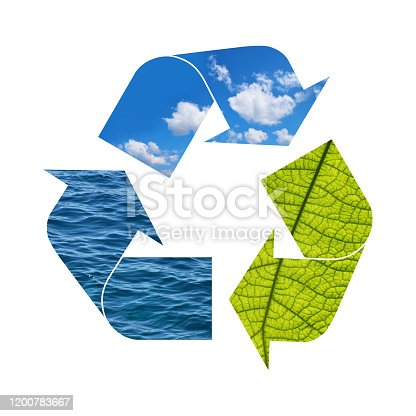 499093370 istock photo Illustration recycling symbol of nature elements 1200783667