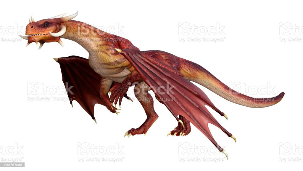 3D illustration red fairy tale dragon on white stock photo