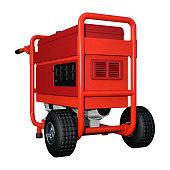 3D illustration red portable generator on white