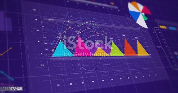 istock 3D Illustration Render Business Success Infographics. Symbolizing Economical Growth 1144572405