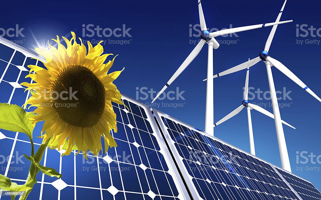 Illustration representing green sustainable energy stock photo