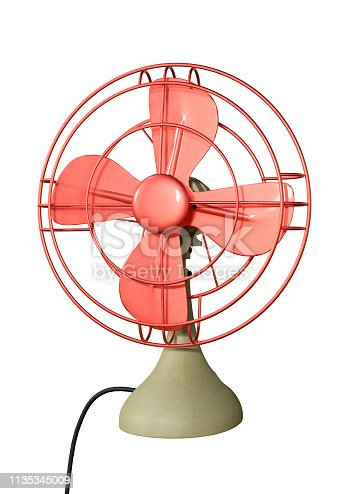 istock 3D illustration retro desk fan on white 1135345009