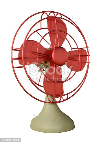 istock 3D illustration retro desk fan on white 1138569888